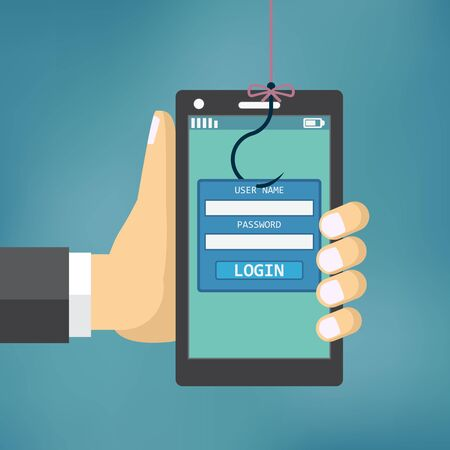 hack: Data Phishing with fishing hook, mobile phone, internet security.