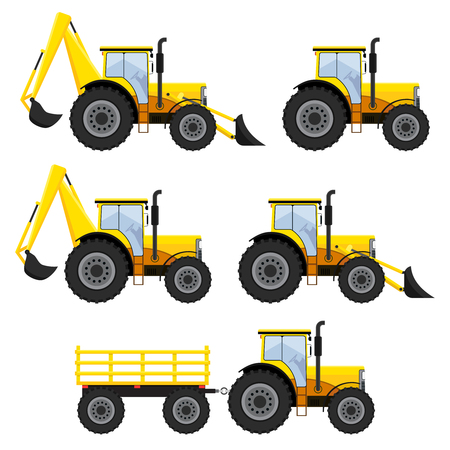 yellow tractors: Set of construction vehicles and tractors on the white background.
