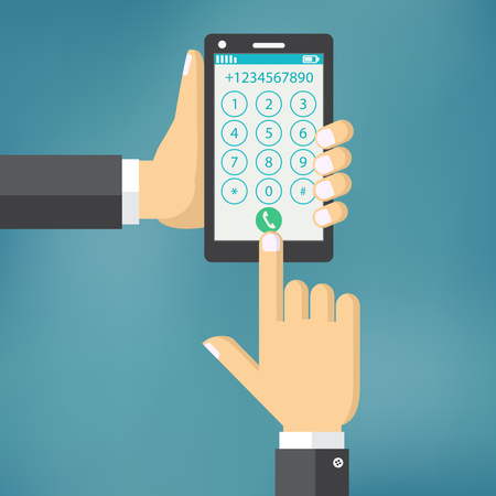 Dial number concept. Illustration of smartphone and hand. Businessman touching buttons with numbers on the mobile phone screen to make a phone call.