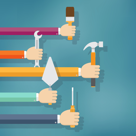 Hands holding housework and repair tools. Flat illustration. Illustration
