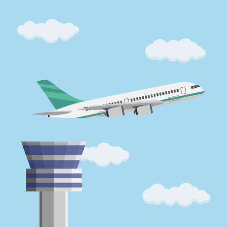 Airport control tower and flying civil airplane after take off in blue sky with clouds. illustration in flat design. Illustration