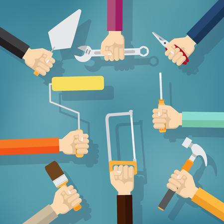 Builders Modern flat background with hand .Vector illustration