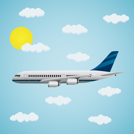Modern passenger airplane with clouds on a blue background. The concept of travel. Illustration