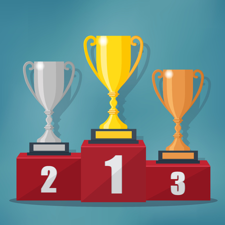 Gold, Silver and Bronze Trophy Cup on prize podium. Champions or winners vector illustration.