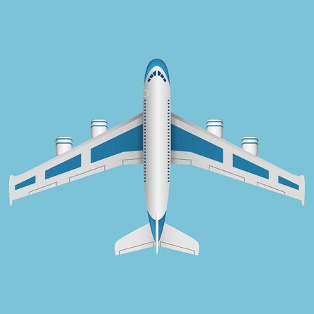 aeroplano: Un vettore aereo vista dall'alto. Illustrazione vettoriale. Vettoriali