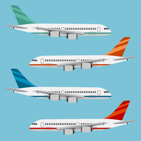 Set of colorful flat airplanes on the blue background. Illustration