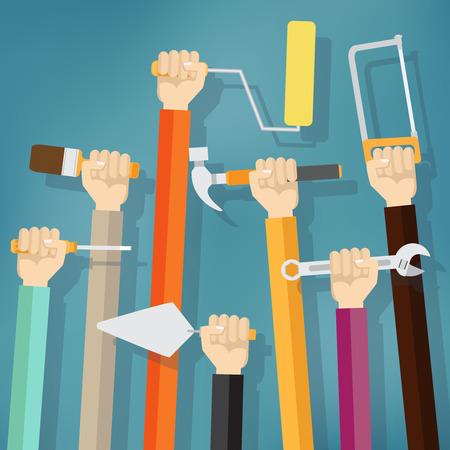 alzando la mano: Muchas manos que generan falta de instrumentos y herramientas en el fondo azul. concepto de mantenimiento.