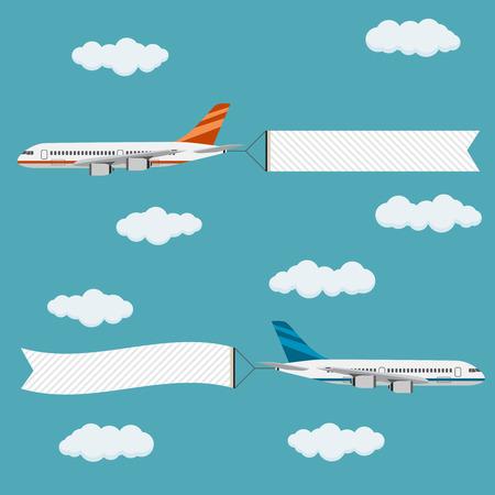 航空機: バナー、テキスト、テンプレートで飛んでいる飛行機はベクトル イラストです。