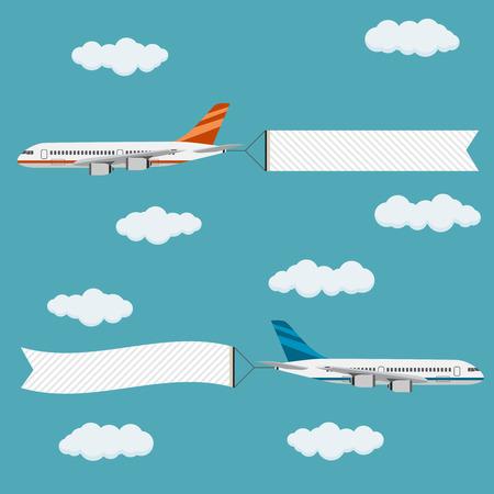 aircraft: Flying planes with banners, template for text, vector illustration. Illustration