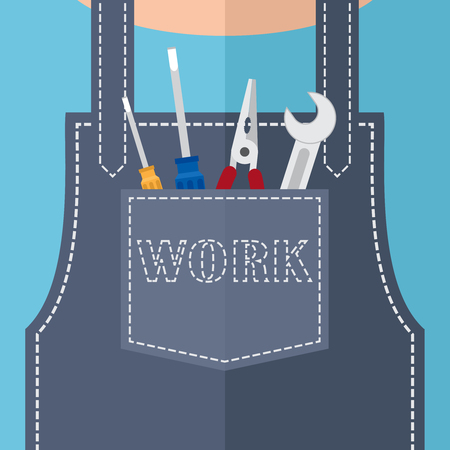 pocket: Pocket with pliers and a wrench and screwdrivers. Illustration