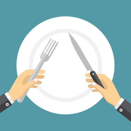 starvation: Empty plate and hands holding knife and fork on the blue backdrop. Illustration