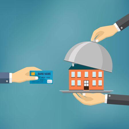 Ecommerce illustrazione vettoriale piatta. Mano tenere la carta di credito e la mano tenere cloche con la casa su di esso.