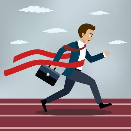 Correr empresario cruza una línea de meta cinta roja. Ilustración de vector de estilo plano. Vectores