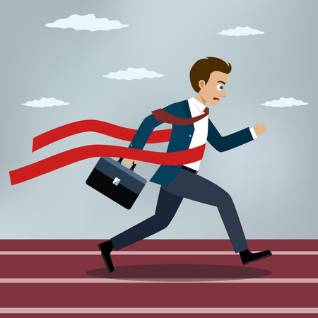 Running businessman crosses a finish line red ribbon. Flat style vector illustration.