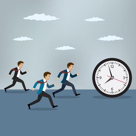 Businessmen chasing pocket watch. Business vector illustration Векторная Иллюстрация