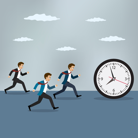 Businessmen chasing pocket watch. Business vector illustration