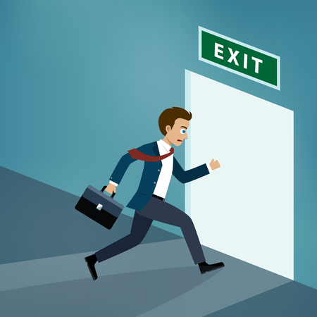 Businessman runs to the exit door in the office. Illustration