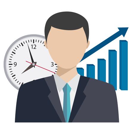 Illustration of businessman with clock and graph behind him. Time management illustration. Illustration