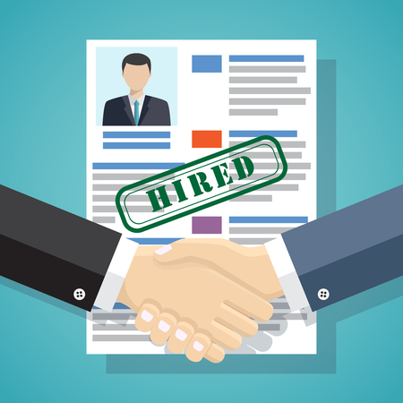 Businessmen handshake with approved resume on the background. 向量圖像