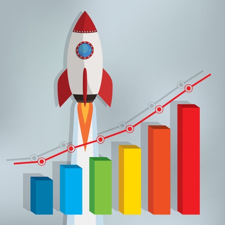 stock market launch: Business chart with a rocket going up on the gray background. Illustration