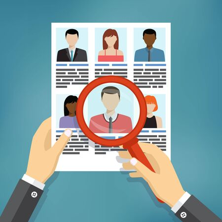 headhunter: Illustration of searching for professional stuff, human resources management.