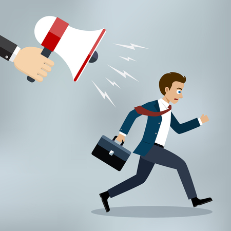 Hand of manager or boss holding megaphone. Businessman almost late running for work.