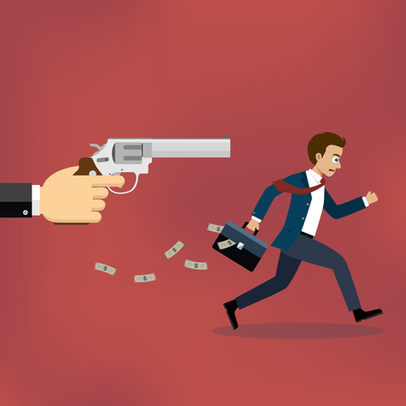 Businessman running away from gunman on the red background. Illusztráció