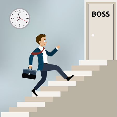 Businessman running upstairs to boss office door.