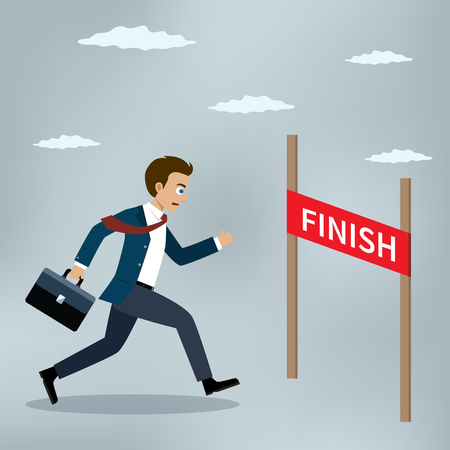 Businessman running at the finish line. Vector illustration Illusztráció