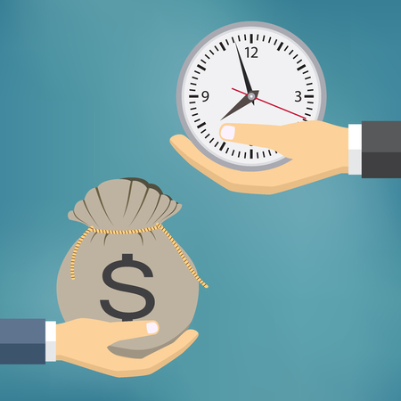 exchanging: Time Is Money Illustration, People Hands exchanging time with money.