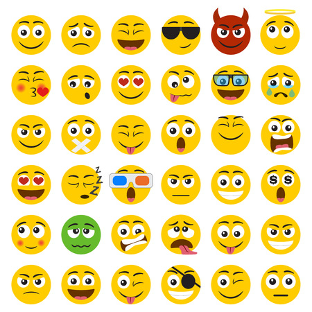 Set of Emoticons. Set of Emoji. Smile icons isolated on the white background Illusztráció
