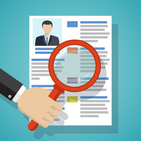 View Resume with magnifying glass. Hiring staff process. Vector simple illustration of recruitment. Illustration