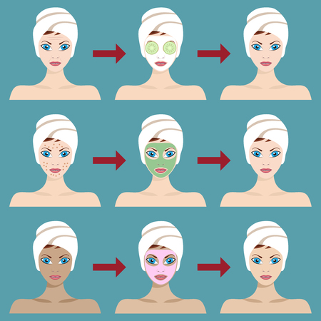 Young Woman Spa Treatment. Results of using different types of facial masks.