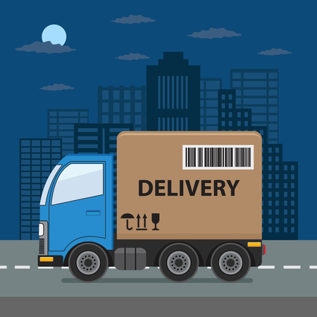 Delivery truck with cardboard box on city background. Product goods shipping transport.