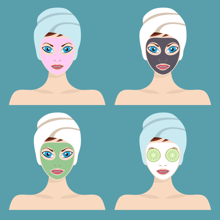 Set of 4 women with cosmetic face masks. Graphic design element for spa or beauty salon poster.