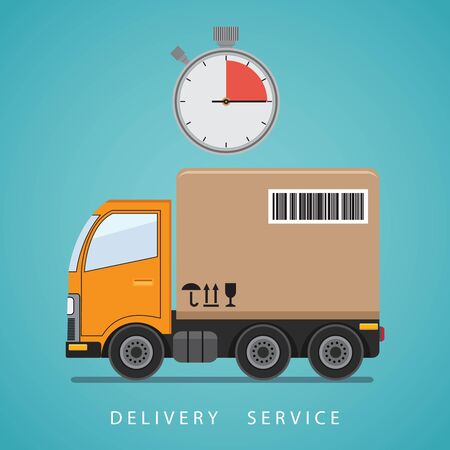 Concept of the shipping service. Delivery truck transporting a big cardboard box. Flat vector illustration.