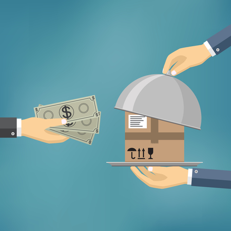 Human hand holds money and pay for the package. Delivery service concept. Payment by cash for express delivery. Vector illustration in flat design.
