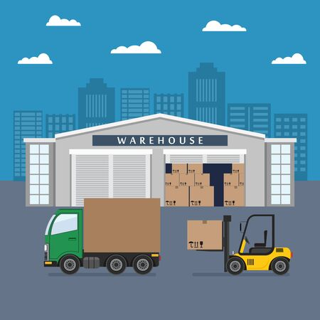 Warehouse building and shipping process. Flat vector illustration. Illusztráció