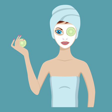 Cute girl in a cosmetic mask pack puts cucumbers on eyes. Illusztráció