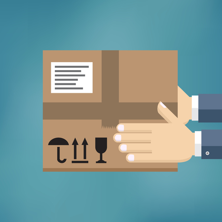 Courier delivered a package, hold in hand. Vector illustration flat design.
