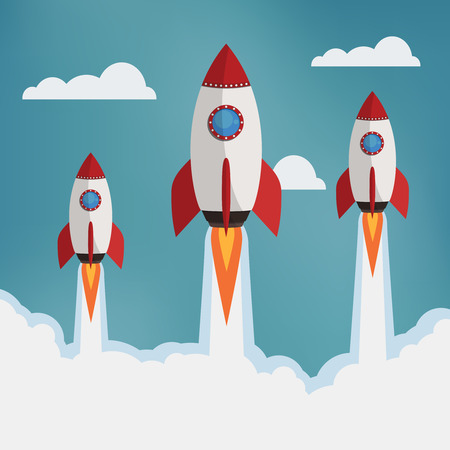 Startup illustration. Three rockets in the clouds. Flat style vector illustration. Illusztráció