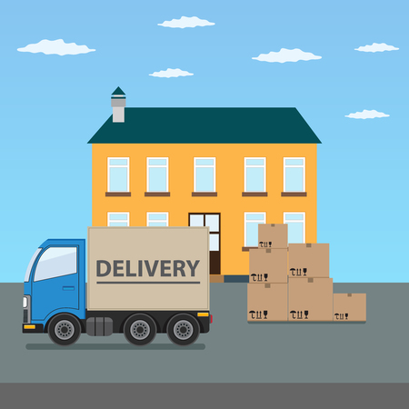 Delivery truck with cardboard boxes near house. Fast delivery concept illustration.
