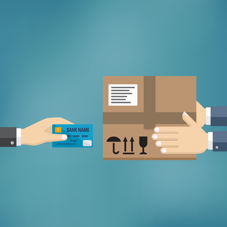 Human hand hold credit card and pay for the package. Delivery service concept. Payment for express delivery. Vector illustration in flat design. Illusztráció