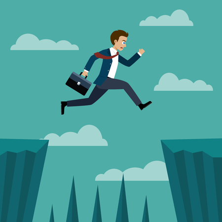 Businessman jumping over between the cliffs. Vector Illustration flat style.