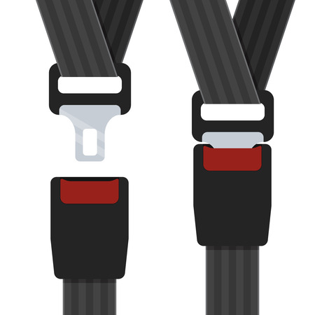 Illustration of an open and closed seatbelts on the white background. Stock Illustratie