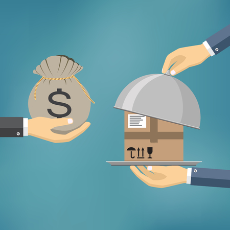 Human hand hold bag with money and pay for the package. Delivery service concept. Payment by cash for express delivery. Vector illustration in flat design.