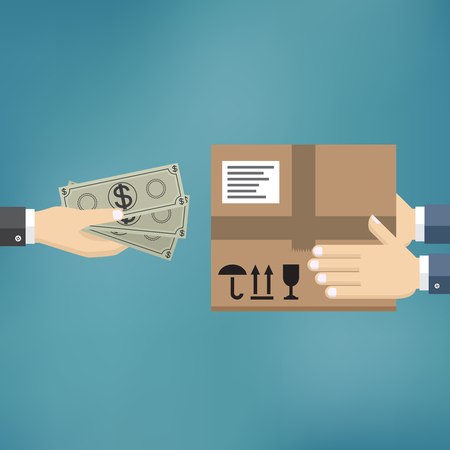 Human hand hold money and pay for the package. Delivery service concept. Payment by cash for express delivery. Vector illustration in flat design. Illusztráció