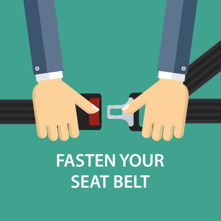 Illustration of two hands locking seat belt. Illustration