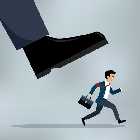 Concept of oppressed by the boss with businessman under a big shoe. Illustration