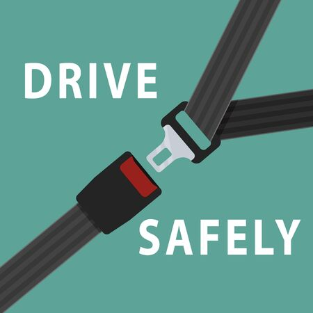 Seat belt on green background. Safety drive concept.